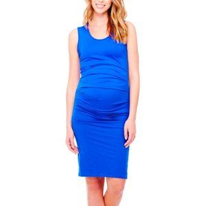 Isabel Maternity Fitted Blue Tank Dress M